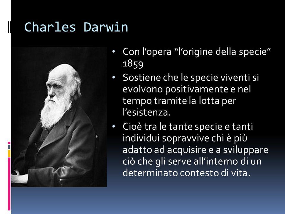 Charles Darwin Con l'opera l'origine della specie 1859