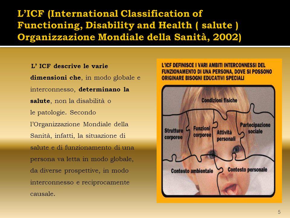 L'ICF (International Classification of Functioning, Disability and Health ( salute ) Organizzazione Mondiale della Sanità, 2002)