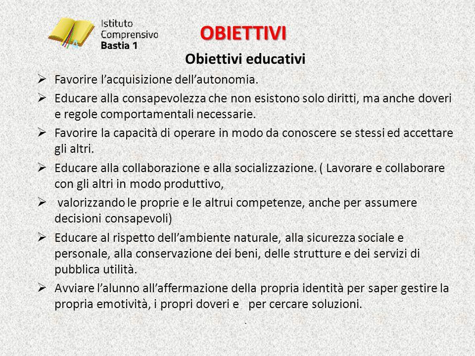 OBIETTIVI Obiettivi educativi Favorire l'acquisizione dell'autonomia.