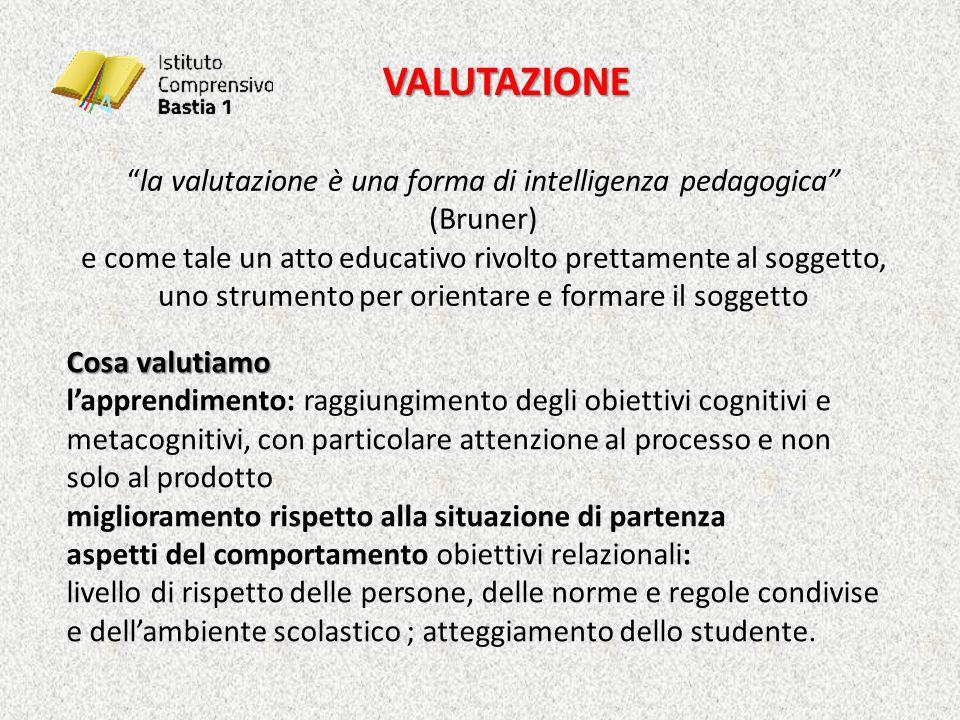 la valutazione è una forma di intelligenza pedagogica (Bruner)