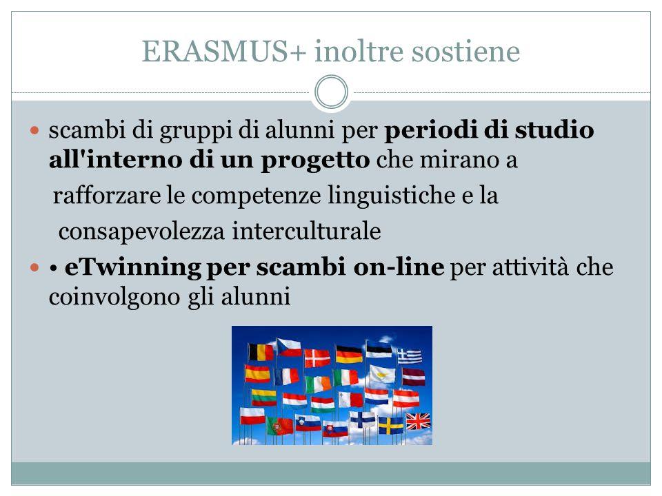 ERASMUS+ inoltre sostiene