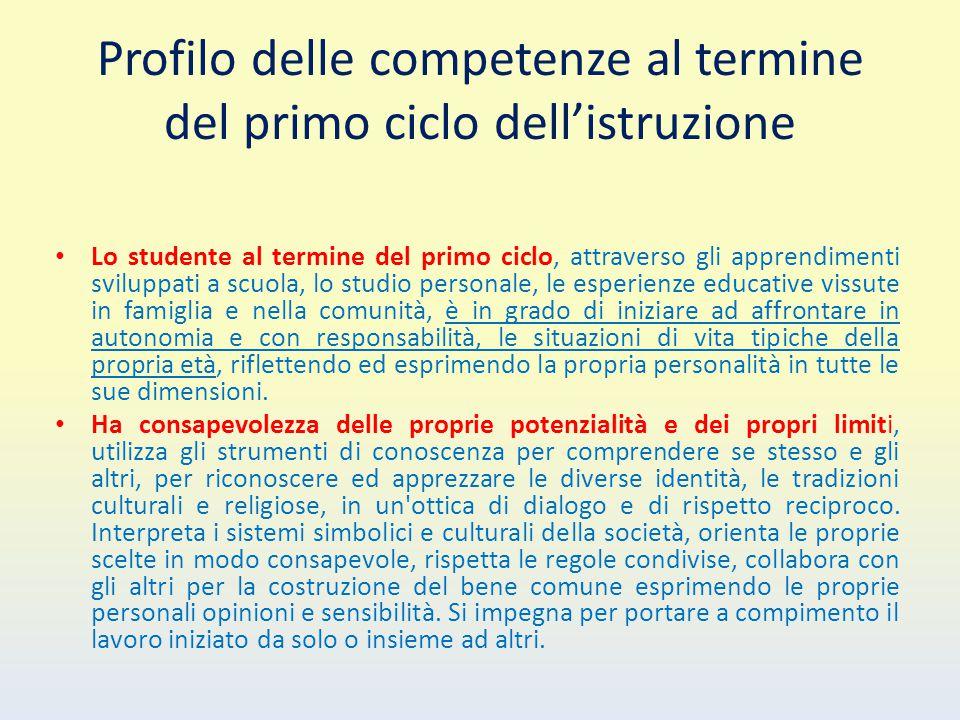 Profilo delle competenze al termine del primo ciclo dell'istruzione