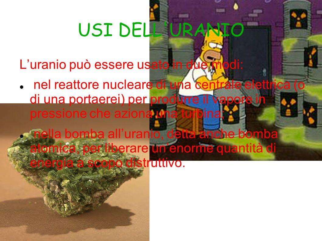 USI DELL URANIO L'uranio può essere usato in due modi: