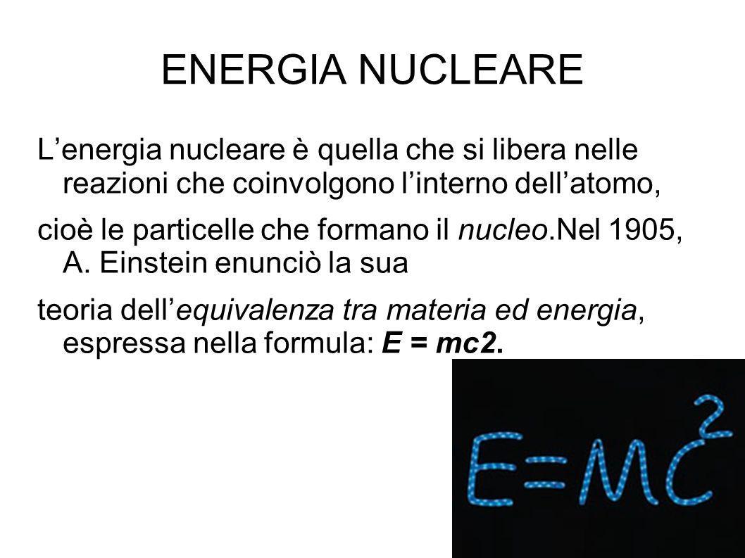 ENERGIA NUCLEARE L'energia nucleare è quella che si libera nelle reazioni che coinvolgono l'interno dell'atomo,