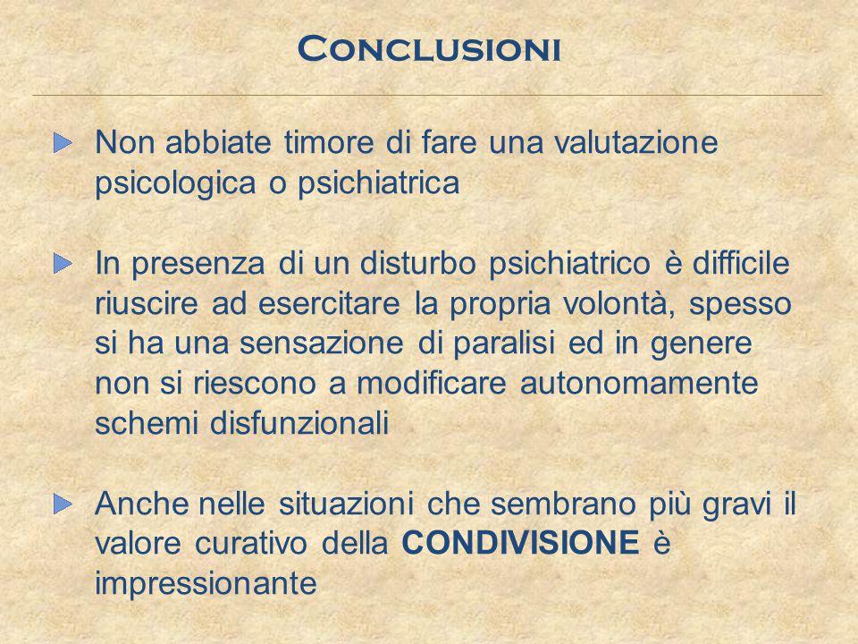 Conclusioni Non abbiate timore di fare una valutazione psicologica o psichiatrica.