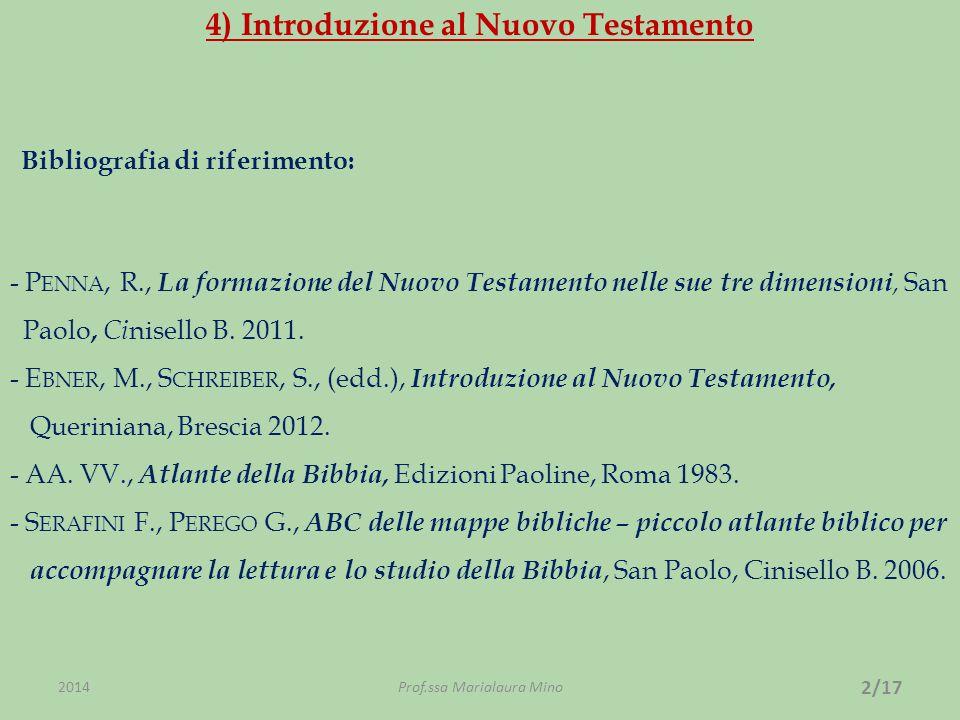 4) Introduzione al Nuovo Testamento