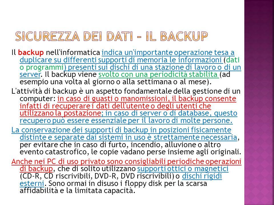 Sicurezza dei dati – il backup