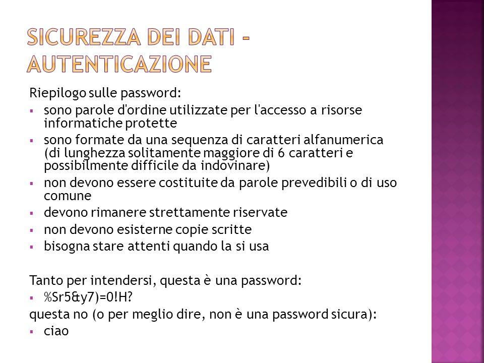 Sicurezza dei dati - autenticazione