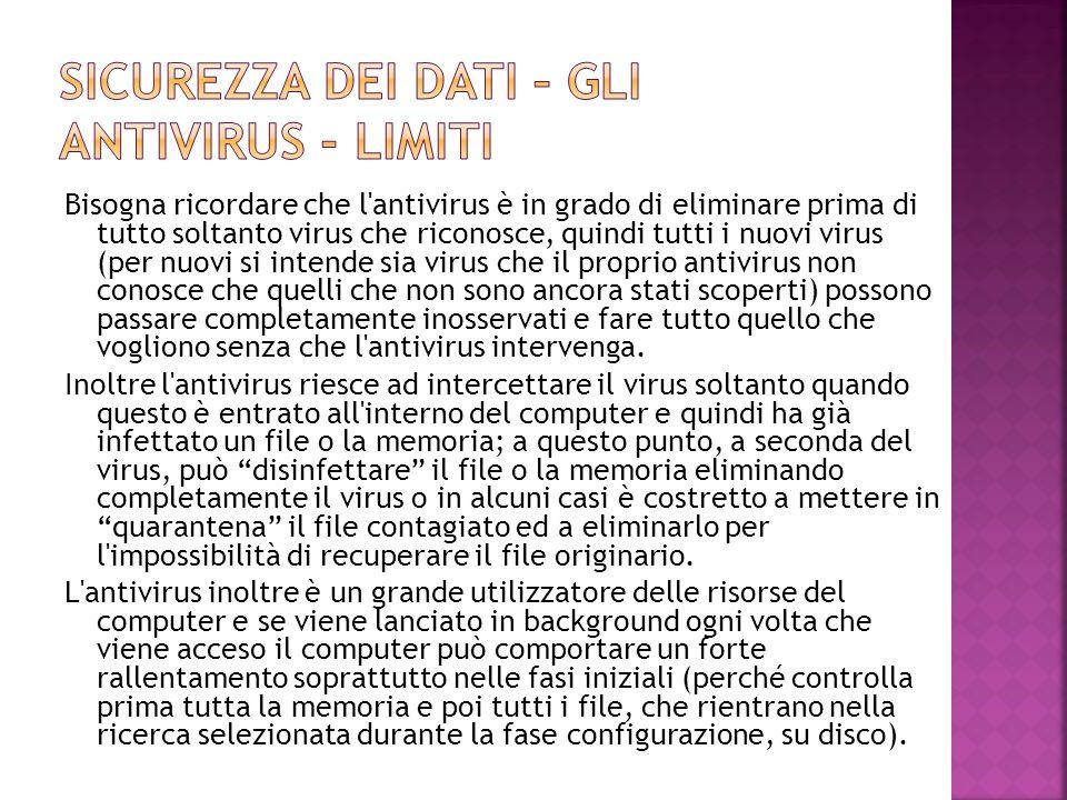Sicurezza dei dati – gli antivirus - limiti