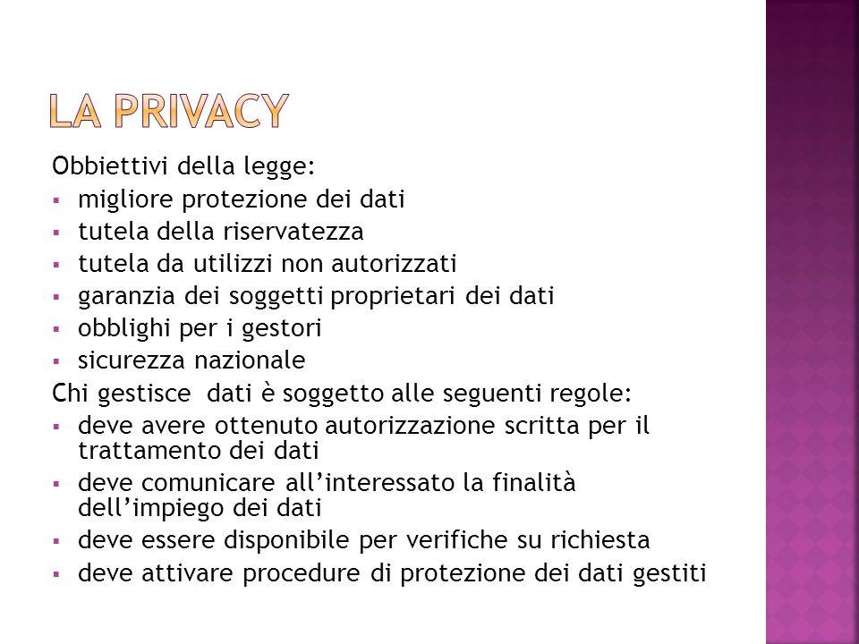 La privacy Obbiettivi della legge: migliore protezione dei dati