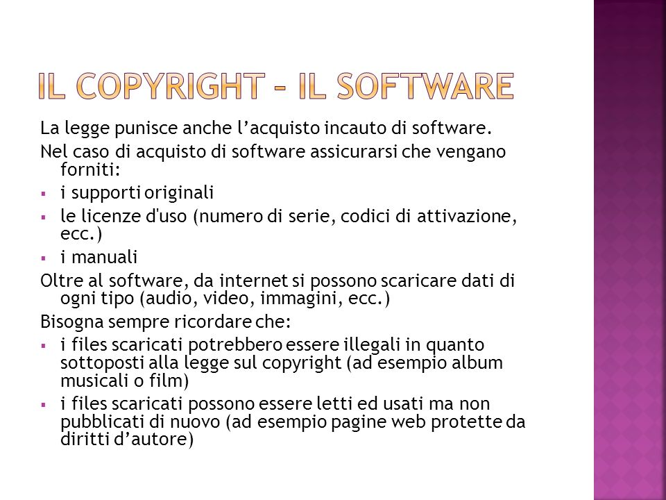 Il copyright – il software