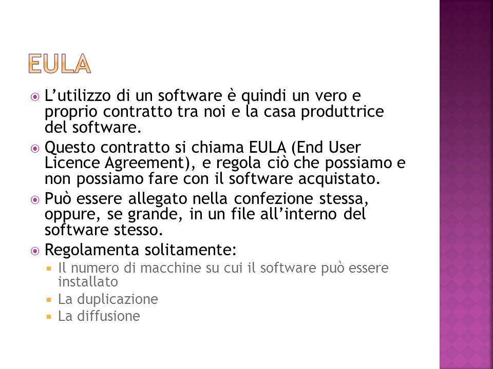 eula L'utilizzo di un software è quindi un vero e proprio contratto tra noi e la casa produttrice del software.