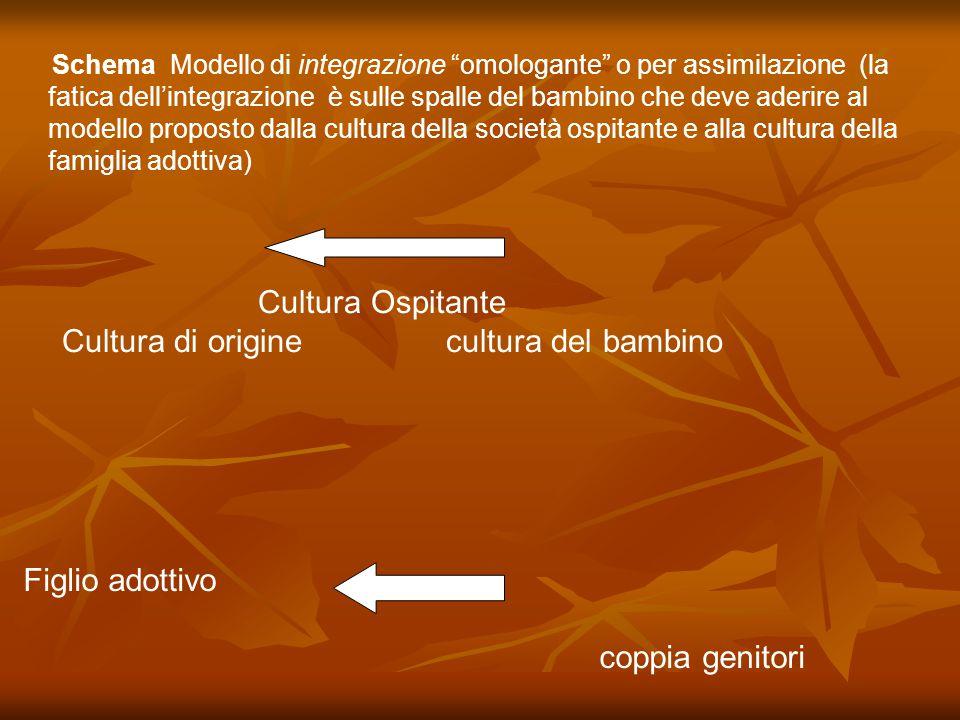 Schema Modello di integrazione omologante o per assimilazione (la fatica dell'integrazione è sulle spalle del bambino che deve aderire al modello proposto dalla cultura della società ospitante e alla cultura della famiglia adottiva)