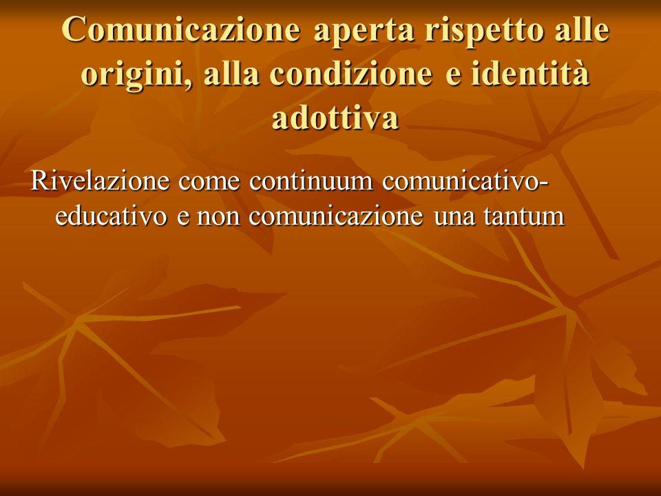 Comunicazione aperta rispetto alle origini, alla condizione e identità adottiva