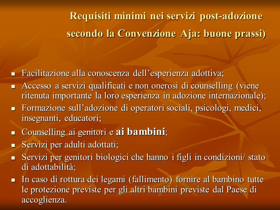 Requisiti minimi nei servizi post-adozione secondo la Convenzione Aja: buone prassi)