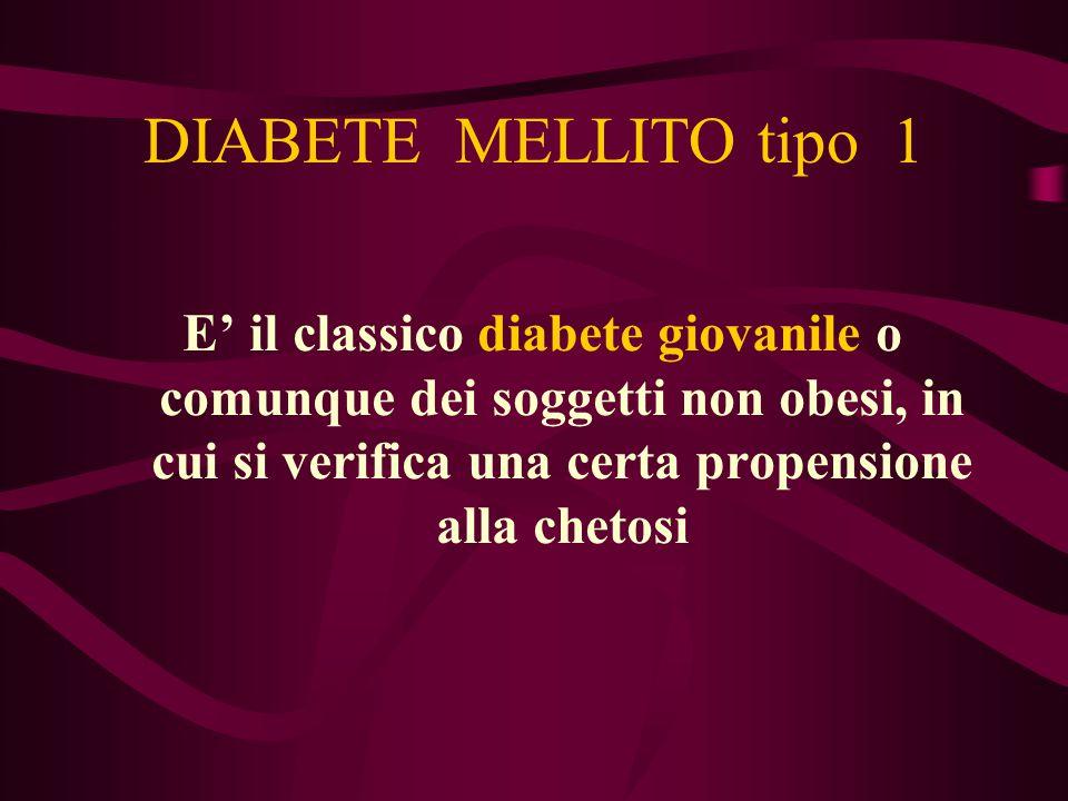 DIABETE MELLITO tipo 1 E' il classico diabete giovanile o comunque dei soggetti non obesi, in cui si verifica una certa propensione alla chetosi.