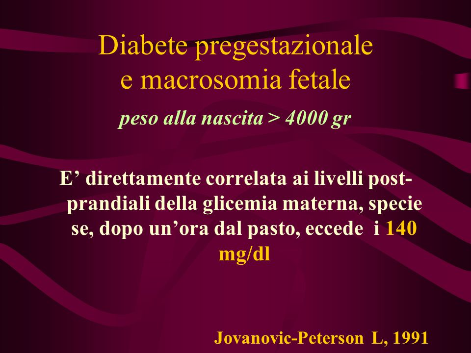 Diabete pregestazionale e macrosomia fetale