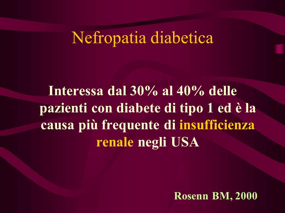 Nefropatia diabetica Interessa dal 30% al 40% delle pazienti con diabete di tipo 1 ed è la causa più frequente di insufficienza renale negli USA.