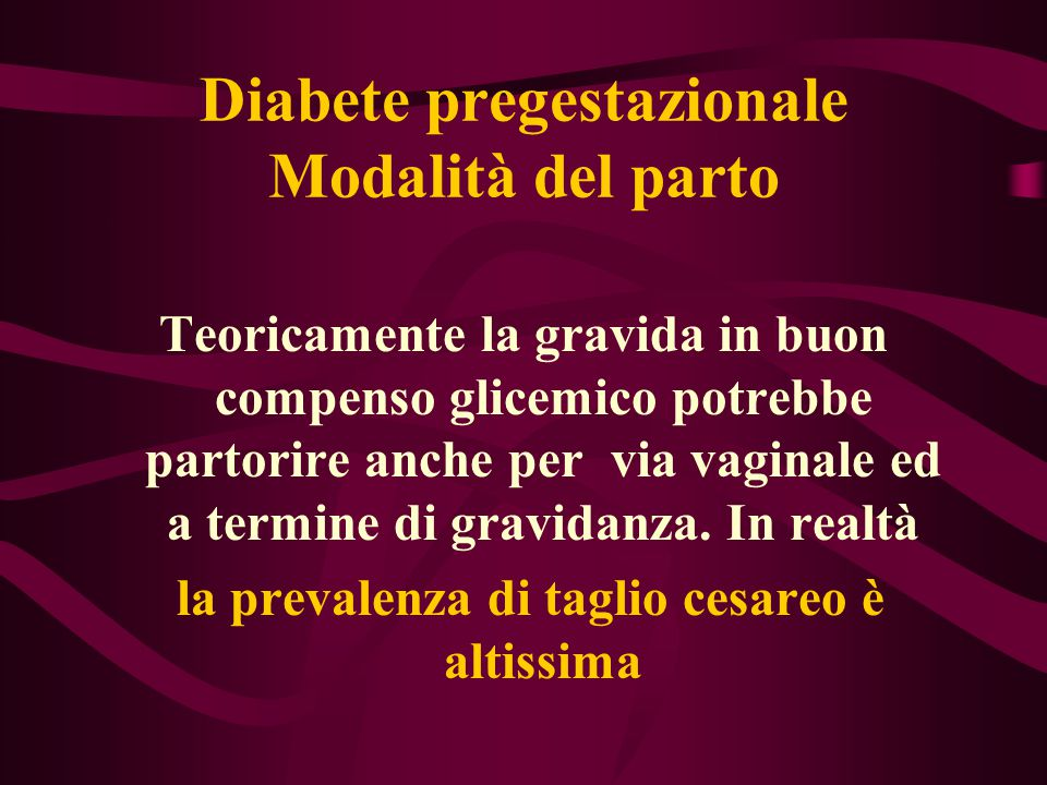 Diabete pregestazionale Modalità del parto