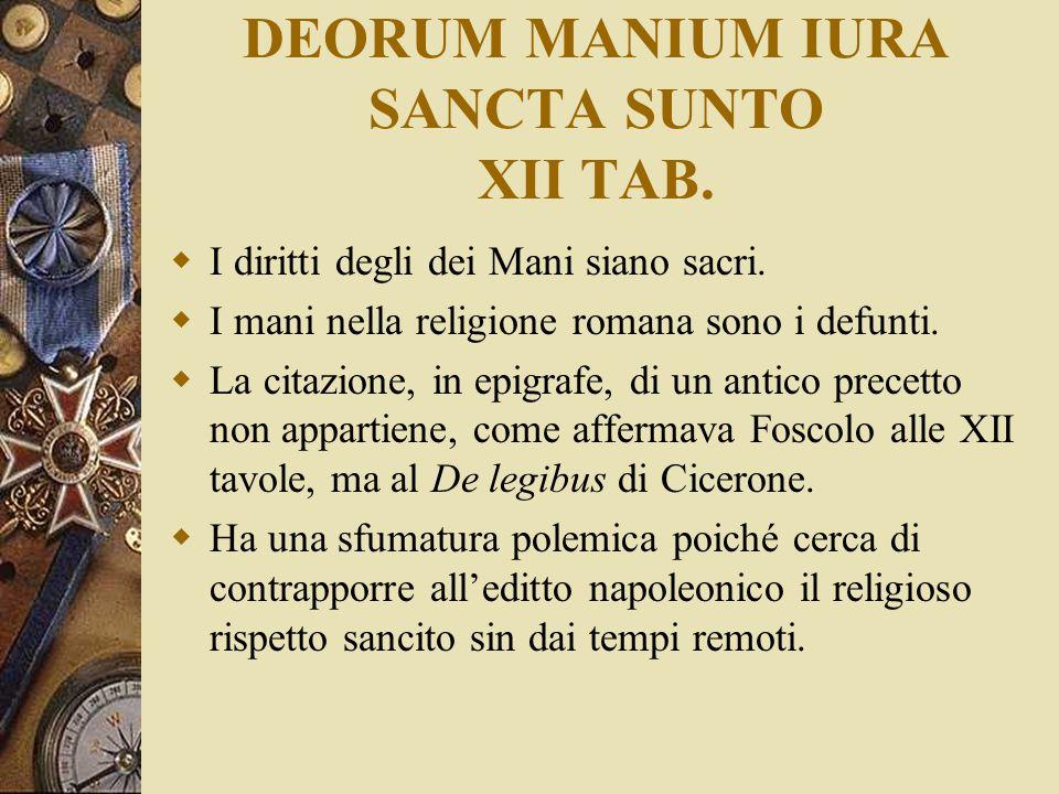 DEORUM MANIUM IURA SANCTA SUNTO XII TAB.