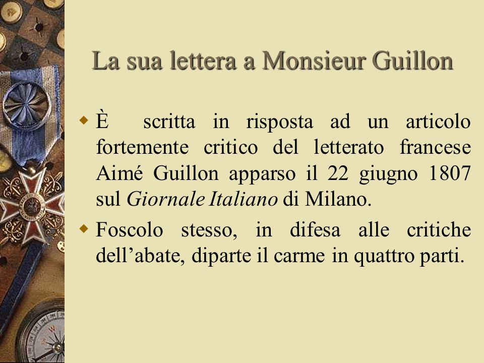 La sua lettera a Monsieur Guillon