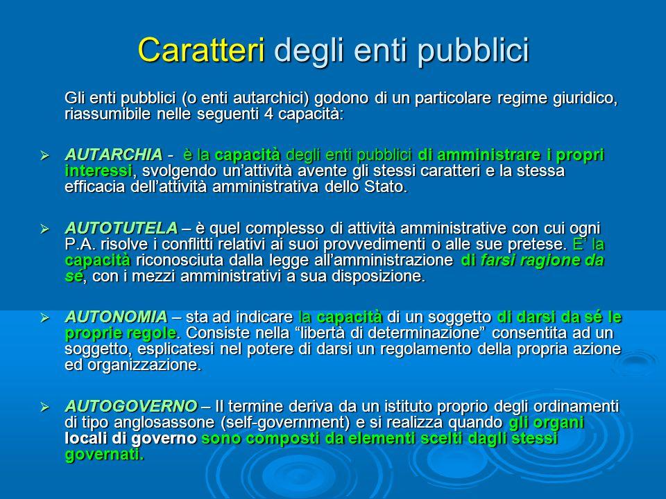 Caratteri degli enti pubblici