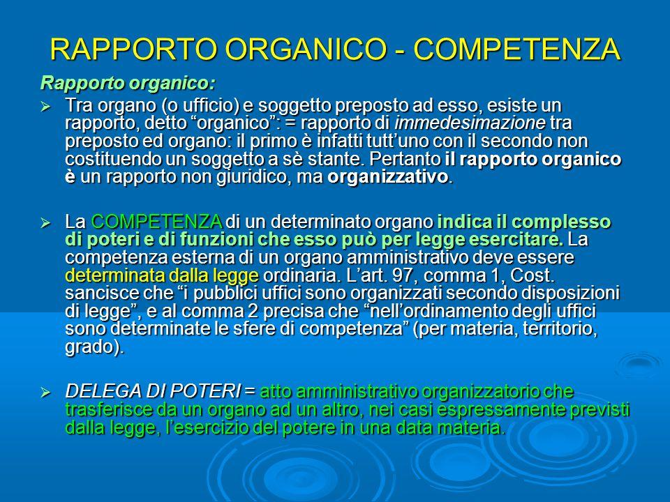 RAPPORTO ORGANICO - COMPETENZA