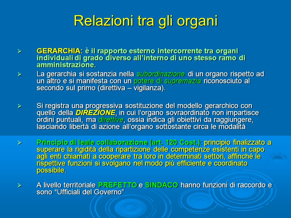 Relazioni tra gli organi
