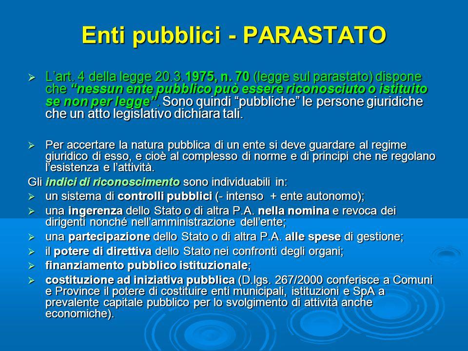 Enti pubblici - PARASTATO