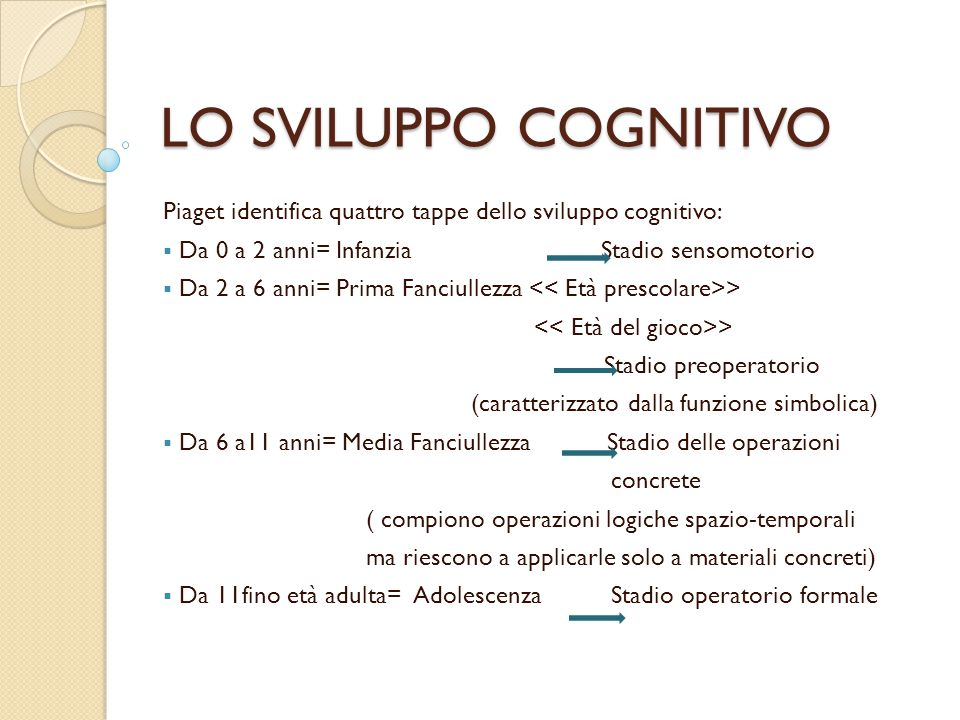 LO SVILUPPO COGNITIVO Piaget identifica quattro tappe dello sviluppo cognitivo: