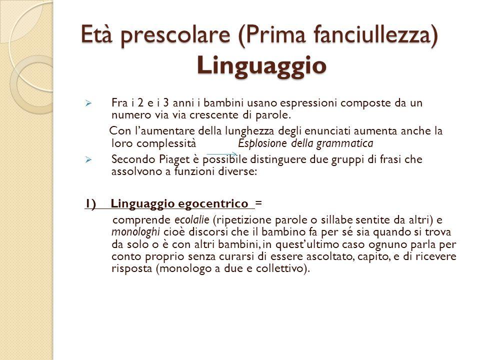 Età prescolare (Prima fanciullezza) Linguaggio