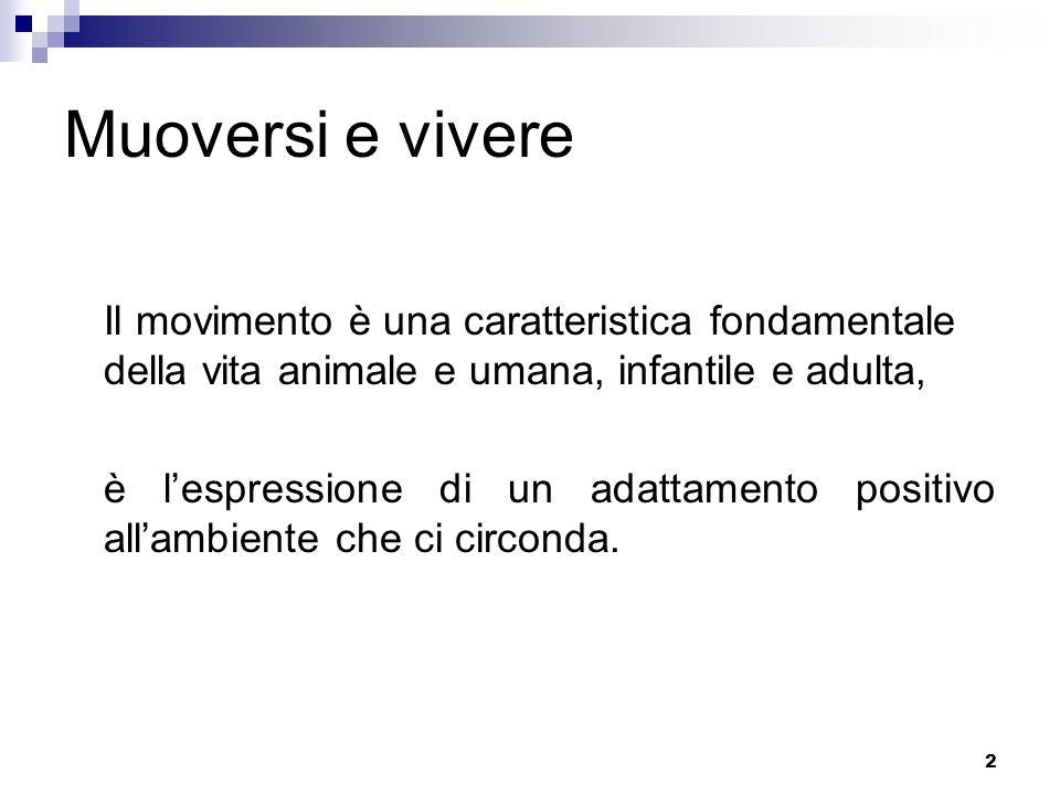 Muoversi e vivere Il movimento è una caratteristica fondamentale della vita animale e umana, infantile e adulta,