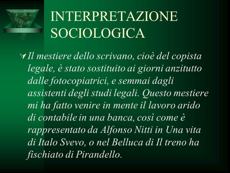 INTERPRETAZIONE SOCIOLOGICA