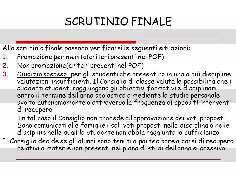 SCRUTINIO FINALE Allo scrutinio finale possono verificarsi le seguenti situazioni: Promozione per merito(criteri presenti nel POF)