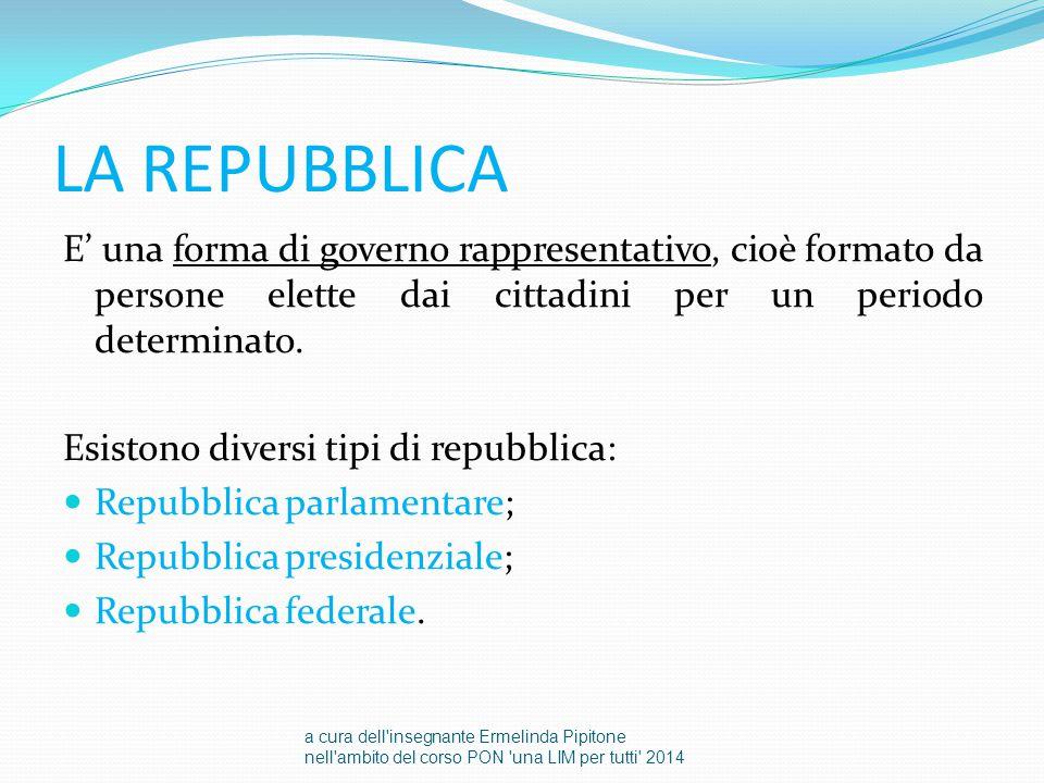 LA REPUBBLICA E' una forma di governo rappresentativo, cioè formato da persone elette dai cittadini per un periodo determinato.
