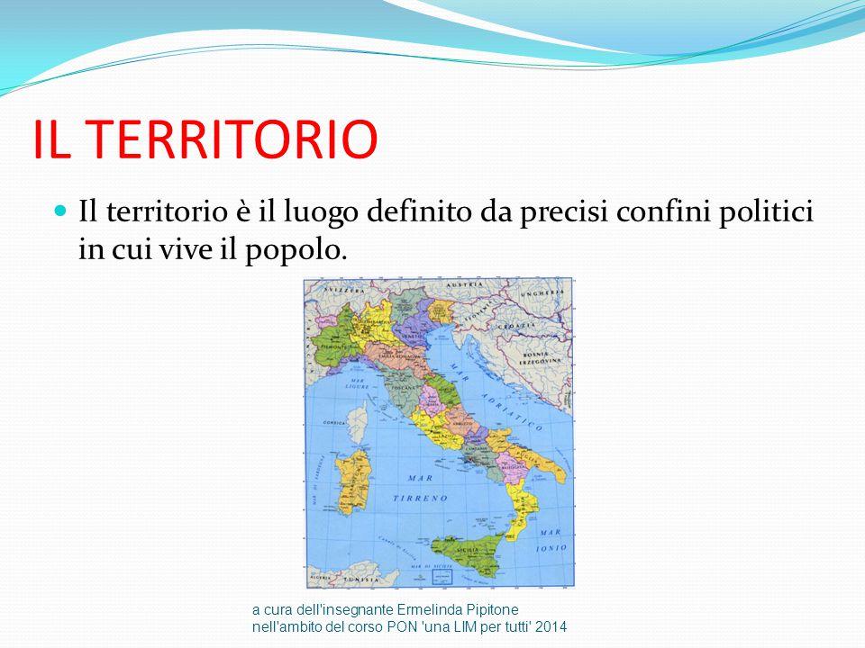 IL TERRITORIO Il territorio è il luogo definito da precisi confini politici in cui vive il popolo.
