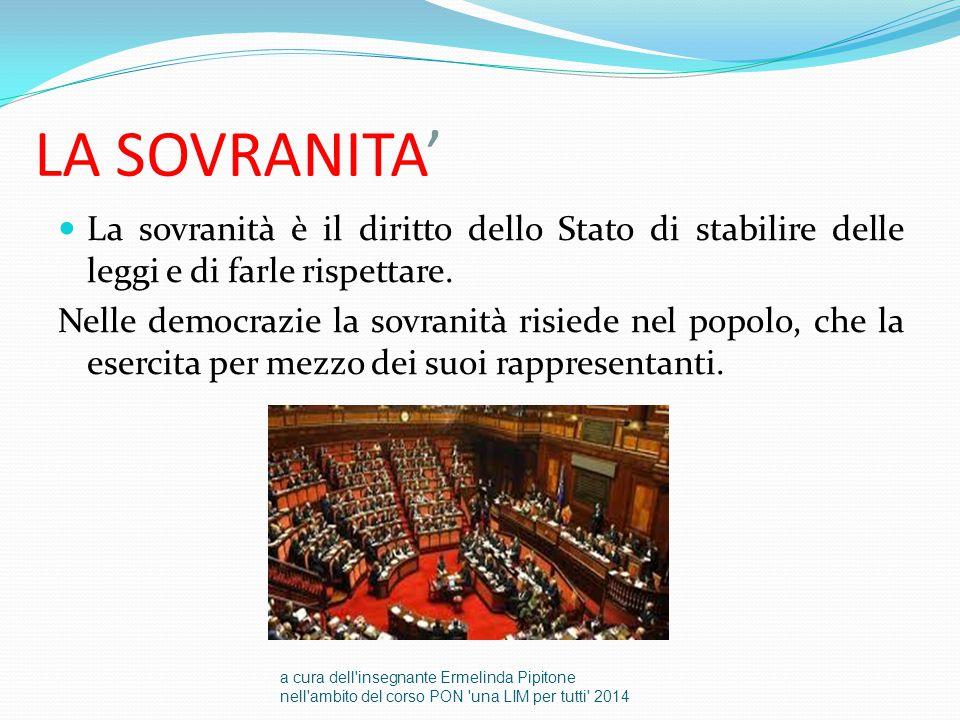 LA SOVRANITA' La sovranità è il diritto dello Stato di stabilire delle leggi e di farle rispettare.