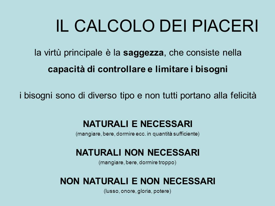 NATURALI NON NECESSARI NON NATURALI E NON NECESSARI