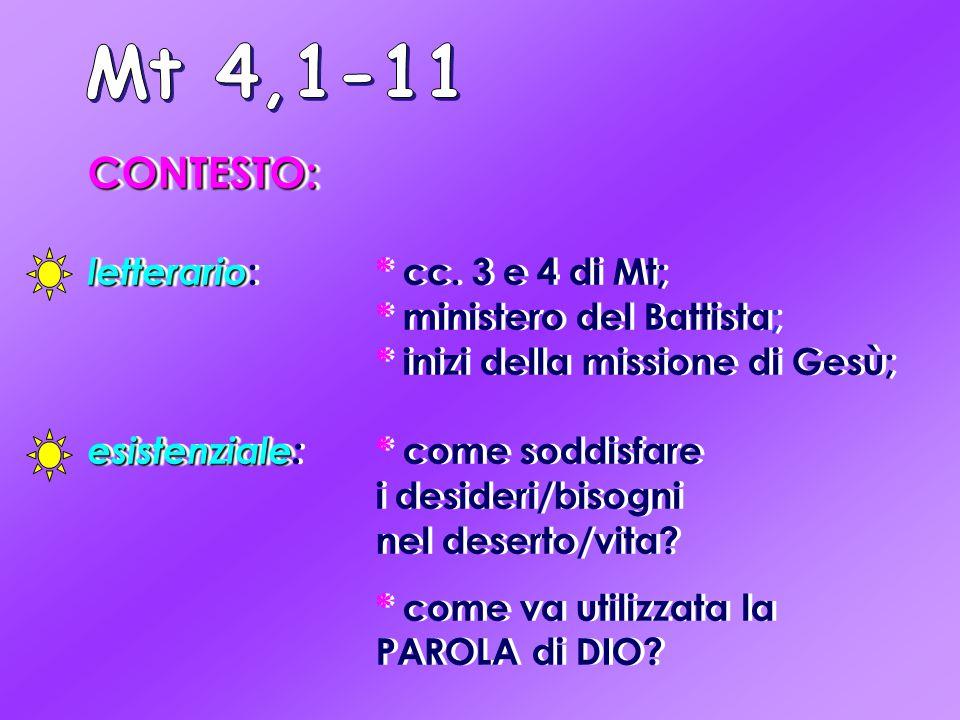 Mt 4,1-11 CONTESTO: letterario: * cc. 3 e 4 di Mt; * ministero del Battista; * inizi della missione di Gesù;