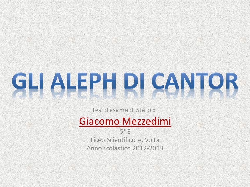 GLI ALEPH DI CANTOR Giacomo Mezzedimi tesi d'esame di Stato di 5° E