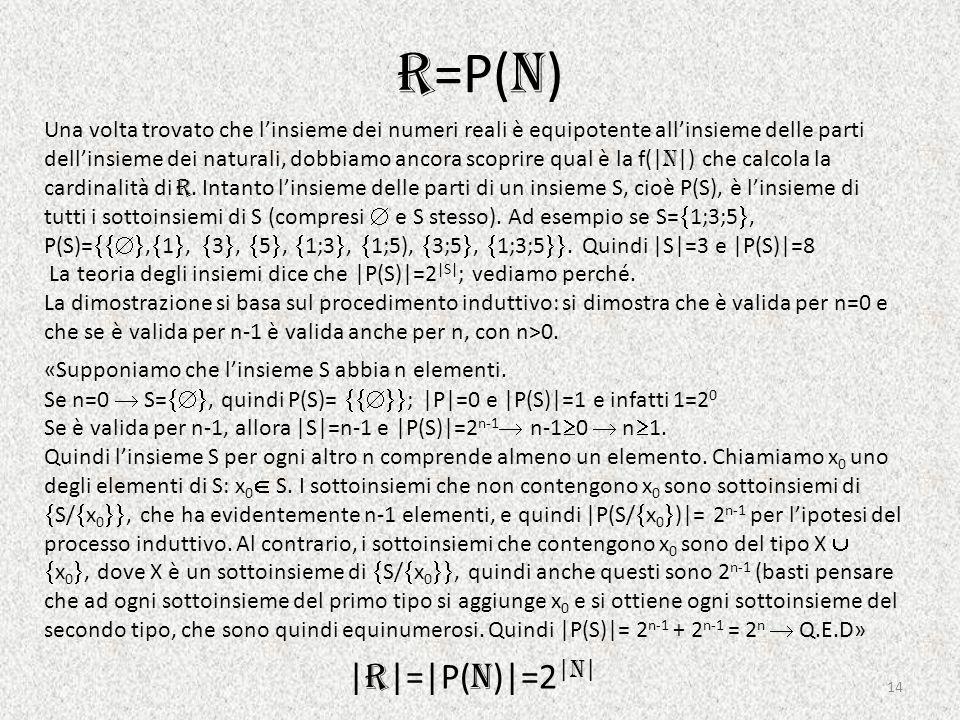 R=P(N) |R|=|P(N)|=2|N|