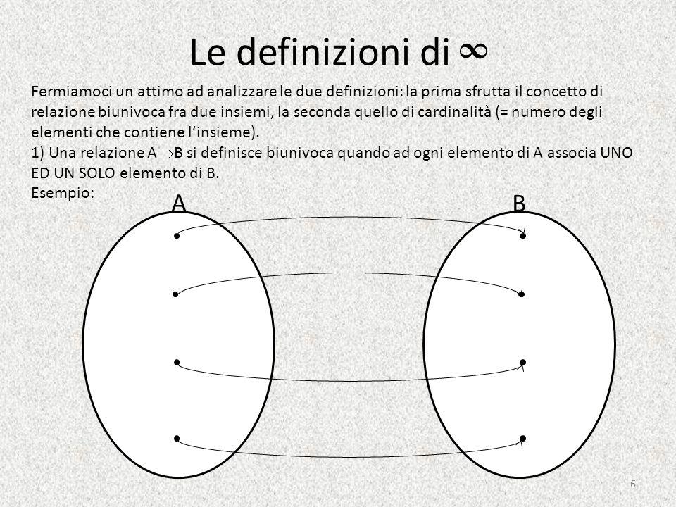 Le definizioni di ∞