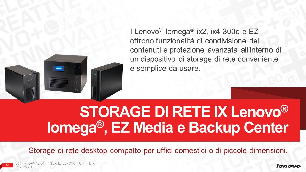 Storage di rete ix Lenovo® Iomega®, EZ Media e Backup Center