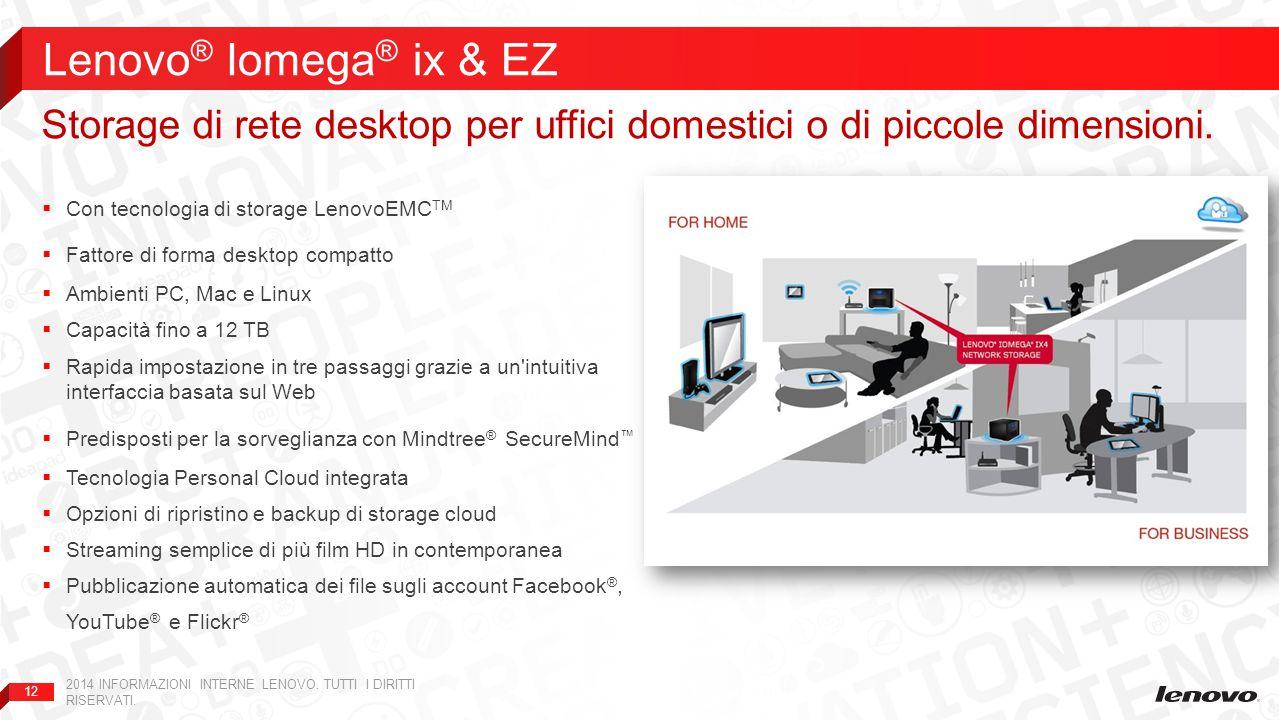 Lenovo® Iomega® ix & EZ Storage di rete desktop per uffici domestici o di piccole dimensioni. Con tecnologia di storage LenovoEMCTM.