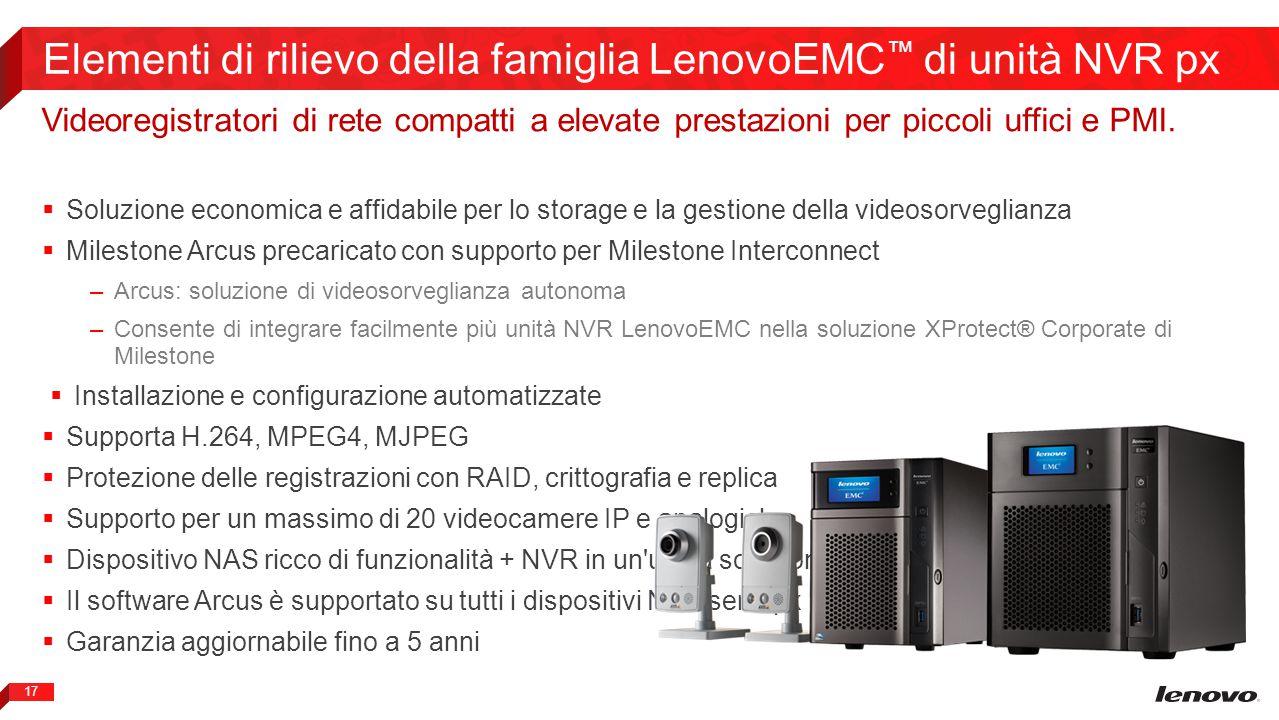 Elementi di rilievo della famiglia LenovoEMC™ di unità NVR px