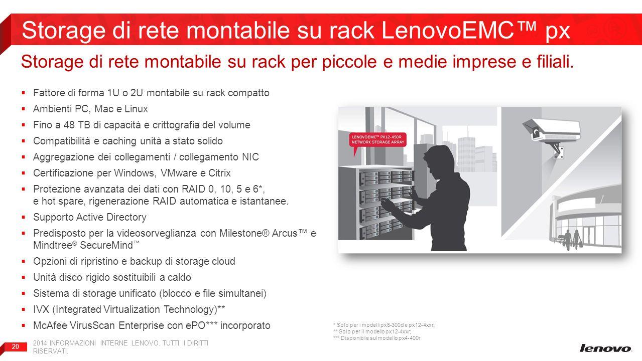 Storage di rete montabile su rack LenovoEMC™ px