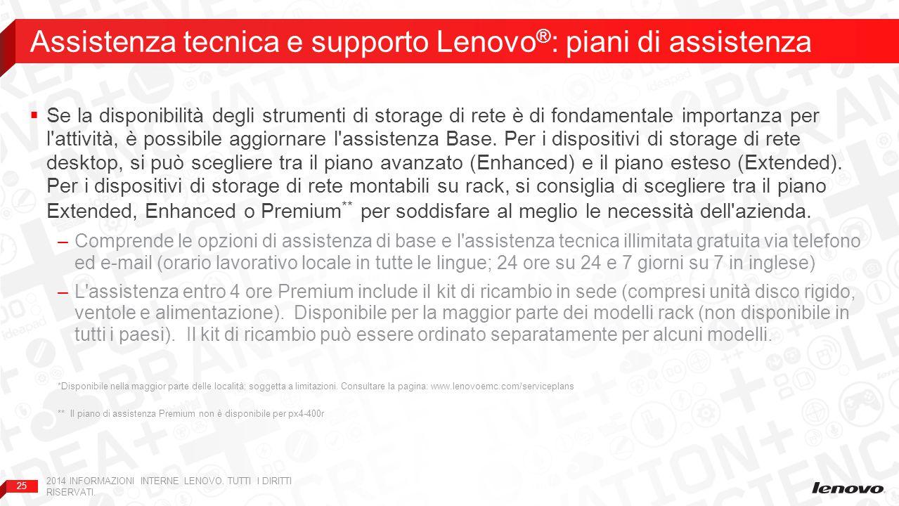 Assistenza tecnica e supporto Lenovo®: piani di assistenza
