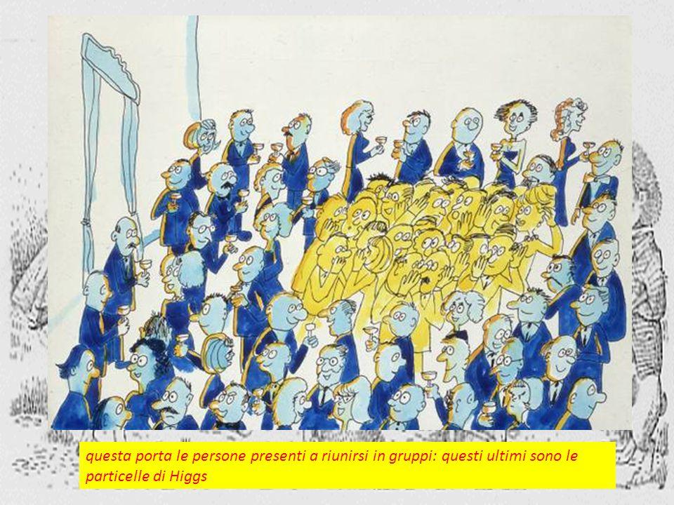 questa porta le persone presenti a riunirsi in gruppi: questi ultimi sono le particelle di Higgs