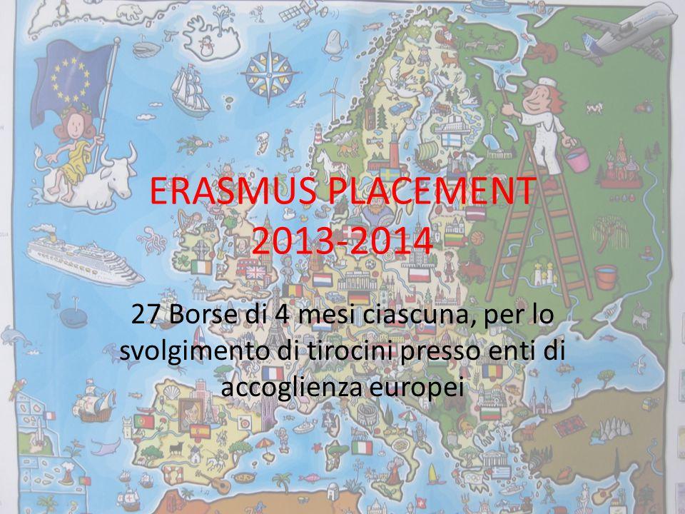 ERASMUS PLACEMENT 2013-2014 27 Borse di 4 mesi ciascuna, per lo svolgimento di tirocini presso enti di accoglienza europei.