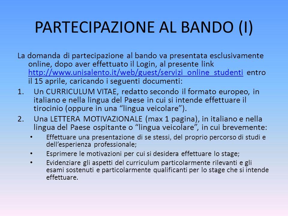 PARTECIPAZIONE AL BANDO (I)